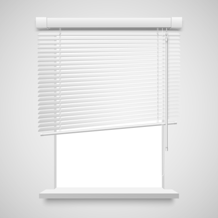 Realistic home related blinds vector illustration isolated on white. Vector