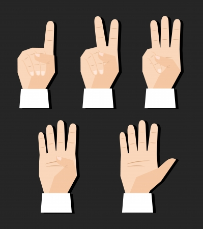 Hand counting finger signs set vector illustration