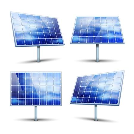 PLACAS SOLARES: Los paneles solares ilustración vectorial aislado en blanco Vectores