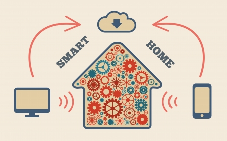 home automation: Smart home in the cloud concept symbol vector illustration
