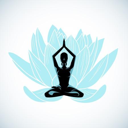 gym room: Meditation symbol for yoga studio vector illustration Illustration