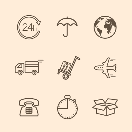 contoured: Set of contoured delivery icons illustration