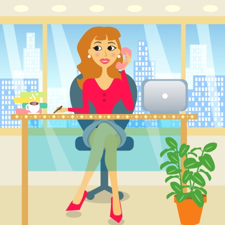 sexy business woman: Attractive business woman in the office illustration Illustration