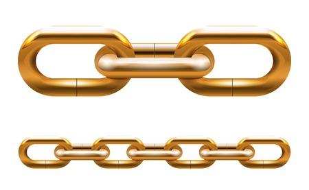 分離した金色のチェーン リンクの図  イラスト・ベクター素材