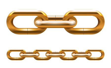 Golden chain links illustration isolated