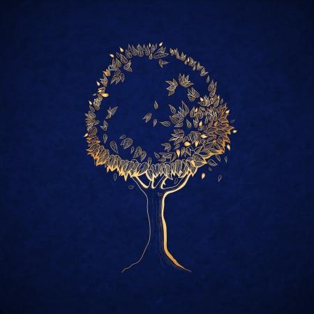 Golden tree concept, symbol of nature vector illustration