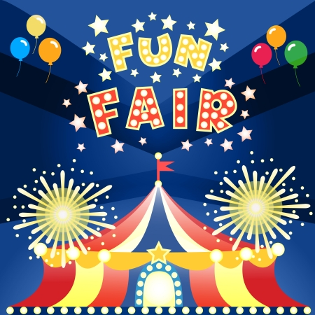 Fun fair at night poster template vector illustration