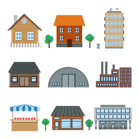 Detailed houses and building icons set isolated on white vector illustration Stock Vector - 23652905
