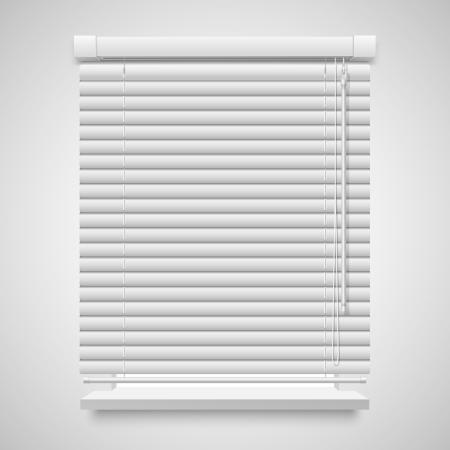 現実的な閉じたシャッター窓、白で隔離される正面図  イラスト・ベクター素材