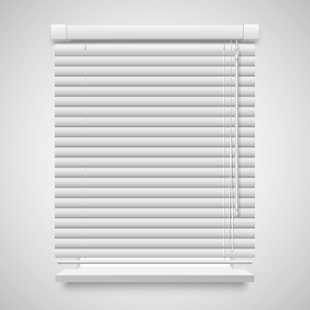 blinds: Realistic closed shutters window, front view illustration isolated on white