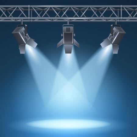 Blank stage with bright lights illustration Illustration