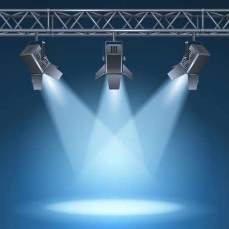 light beams: Blank stage with bright lights illustration Illustration