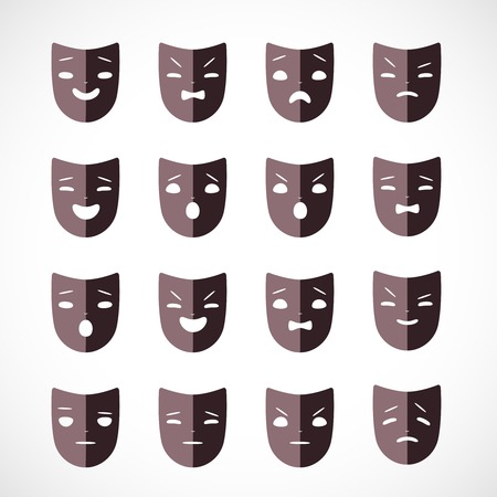 comedy disguise: Set of theater masks for drama and humor illustration