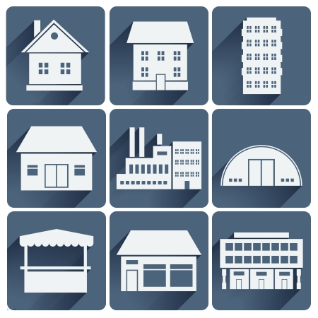 Various building icons set vector illustration Vector