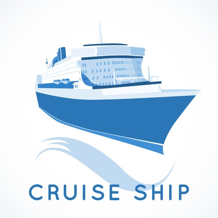 ocean liner: Cruise ship label vector illustration