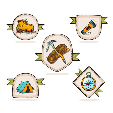 Mountain hiking set of badges vector illustration