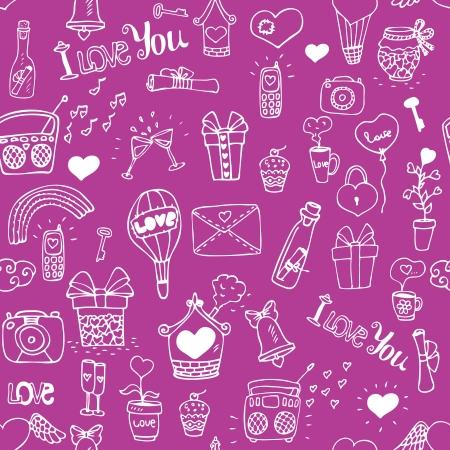 sweet love: Patr�n dulce amor sin fisuras para las ni�as ilustraci�n vectorial