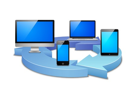 sync: Digital sync of devices in the cloud vector illustration