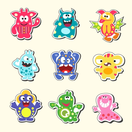Set of the cartoon monsters symbols isolated vector illustration