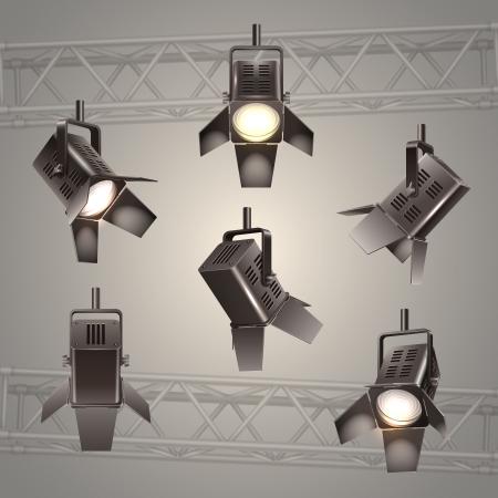 stage lights: Digital stage lighting elements vector illustration
