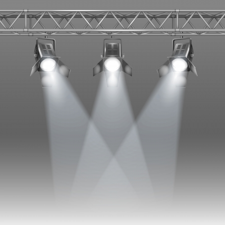 shined: Show stage shined with projectors vector illustration