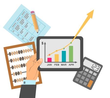 El éxito financiero de planes de negocios informe concepto de ilustración vectorial