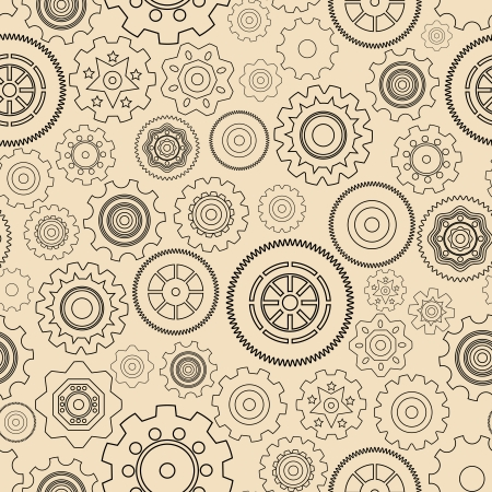 Seamless gear wheels pattern vector illustration Vector