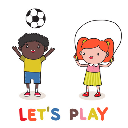 girls having fun: How kids are playing together vector illustration isolated