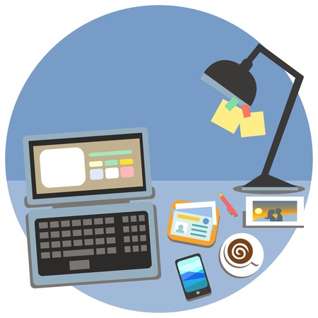 cubicle: Business workplace, cubicle concept vector illustration Illustration