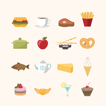 Food icons in flat style vector illustration isolated Vector