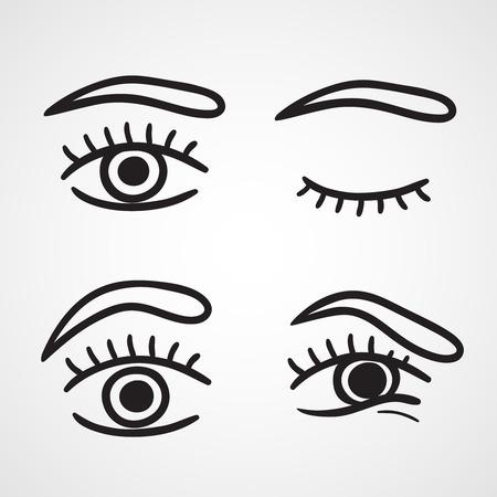 geschlossene augen: Augen-Icons, Design in wei� Hintergrund Vektor-Illustration isoliert