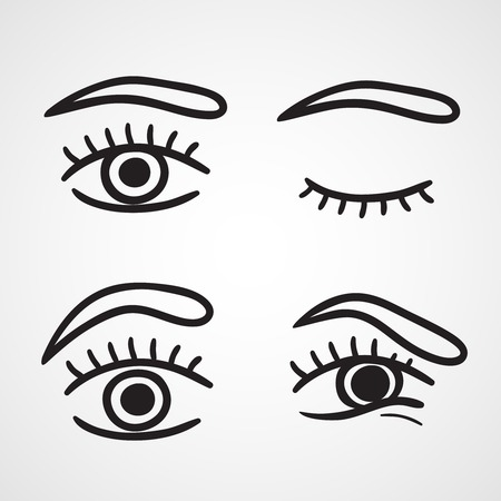 eye  closed: Eyes icons design over white background vector illustration isolated