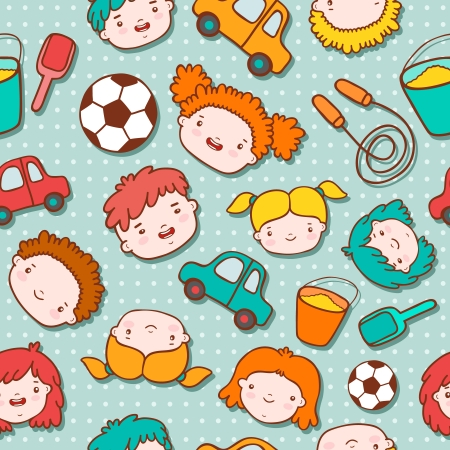 Seamless doodle kids background vector illustration Vector