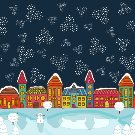 Christmas house background vector illustration Vector
