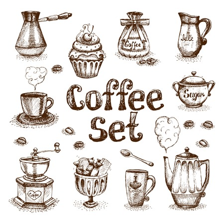 Retro coffee set vector illustration