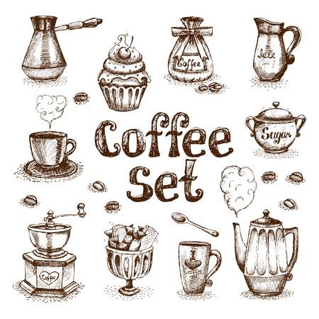 chicchi di caff�: Retro illustrazione vettoriale set da caff� Vettoriali