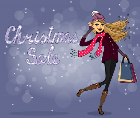 woman scarf: Girl with shopping bags at christmas sale vector illustration