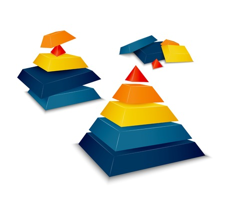 balanced: Pyramid assembled, disassembled and as parts vector illustration Illustration