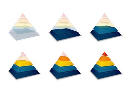 Pyramidal progress or loading bar indicator vector illustration