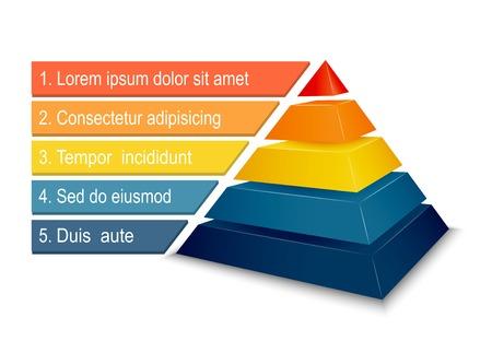 インフォ グラフィック プレゼンテーション ベクトル図のピラミッド型の図表  イラスト・ベクター素材