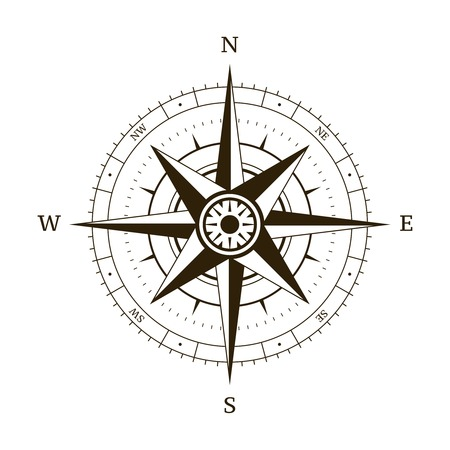 wind rose: Navigation compass wind rose vector illustration