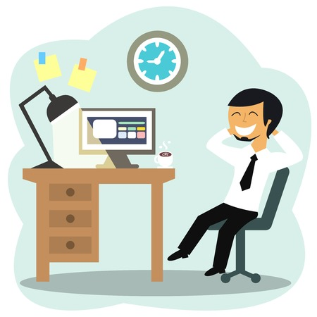 Happy office worker at the desk vector illustration Vector