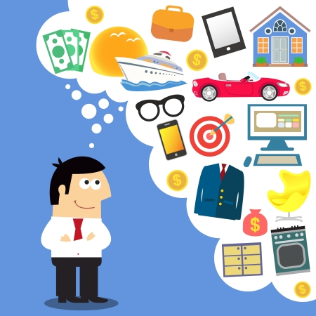 new thinking: Business dreams, future planning vector illustration Illustration