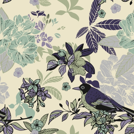Silk flowers and birds seamless pattern vector illustration Vector