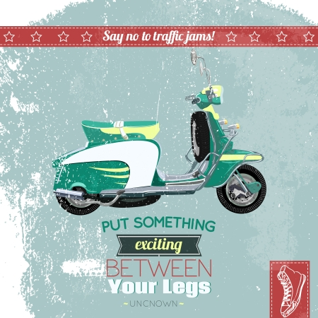Hipster scooter vintage poster vector illustration Vector