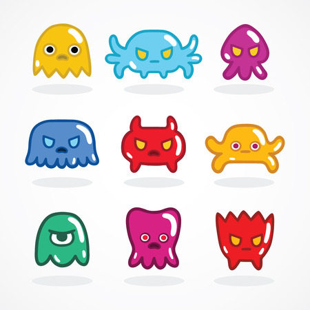 video game: Retro video game monsters set vector illustration