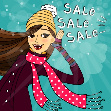 clothing shop: Winter shopping sale discounts vector illustration