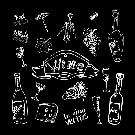 corkscrew: Wine set on chalkboard vector illustration
