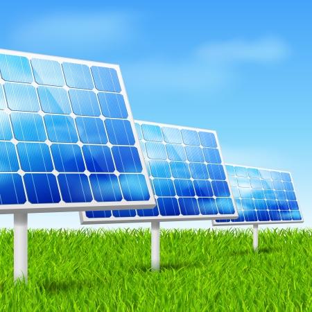 Eco energy concept solar panels in grass vector illustration Vector