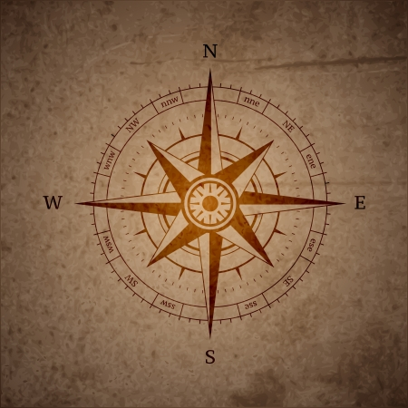 Retro navigation compass symbol vector illustration Ilustração